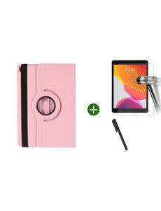 Ntech iPad 2021 hoes - iPad 2020 hoes draaibaar - iPad 2019 hoes - iPad 10.2 hoes + screenprotector - tempered glass + stylus pen - Licht Roze