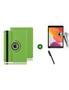 Ntech iPad 2021 hoes - iPad 2020 hoes draaibaar - iPad 2019 hoes - iPad 10.2 hoes + screenprotector - tempered glass + stylus pen - Groen
