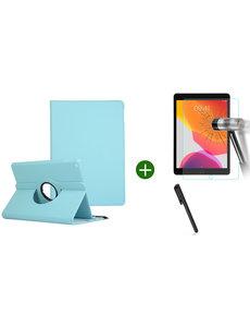 Ntech iPad 2021 hoes - iPad 2020 hoes draaibaar - iPad 2019 hoes - iPad 10.2 hoes + screenprotector - tempered glass + stylus pen - Turquoise