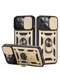 Ntech iPhone 13 Hoesje met Camera Bescherming Goud - Hoesje iPhone 13 met ring houder Rugged Armor Back Cover - Case - Camera Schuif