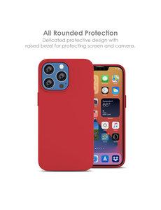 Ntech iPhone 13 Mini hoesje - iPhone 13 Mini hoesje Siliconen Rood - iPhone 13 Mini case - hoesje iPhone 13 Mini - iPhone 13 Mini Silicone case -  hoesje - Nano Liquid Silicone Backcover