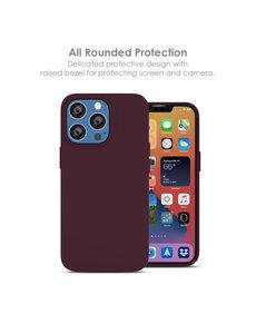 Ntech iPhone 13 Mini hoesje - iPhone 13 Mini hoesje Siliconen Wine Rood - iPhone 13 Mini case - hoesje iPhone 13 Mini - iPhone 13 Mini Silicone case -  hoesje - Nano Liquid Silicone Backcover