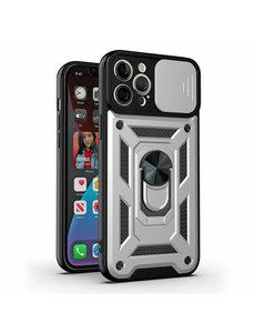 Ntech iPhone 13 Pro Hoesje met Camera Bescherming Zilver - Hoesje iPhone 13 Pro met ring houder Rugged Armor Back Cover - Case - Camera Schuif
