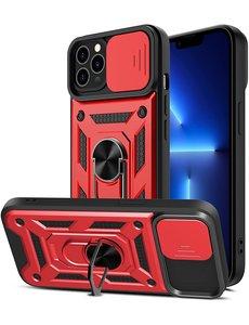 Ntech iPhone 13 pro Hoesje met Camera Bescherming Rood - Hoesje iPhone 13 Pro met ring houder Rugged Armor Back Cover - Case - Camera Schuif