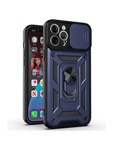 Ntech iPhone 13 pro Hoesje met Camera Bescherming Blauw - Hoesje iPhone 13 Pro met ring houder Rugged Armor Back Cover - Case - Camera Schuif