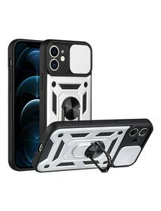 Ntech iPhone 13 Mini Hoesje met Camera Bescherming Zilver - Hoesje iPhone 13 Mini met ring houder Rugged Armor Back Cover - Case - Camera Schuif