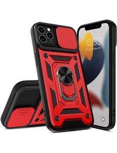 Ntech iPhone 13 Mini Hoesje met Camera Bescherming Rood - Hoesje iPhone 13 Mini met ring houder Rugged Armor Back Cover - Case - Camera Schuif