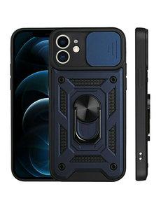 Ntech iPhone 13 Mini Hoesje met Camera Bescherming Blauw - Hoesje iPhone 13 Mini met ring houder Rugged Armor Back Cover - Case - Camera Schuif