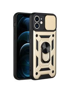 Ntech iPhone 13 Mini Hoesje met Camera Bescherming Goud - Hoesje iPhone 13 Mini met ring houder Rugged Armor Back Cover - Case - Camera Schuif