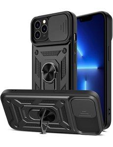 Ntech iPhone 13 Mini Hoesje met Camera Bescherming Zwart - Hoesje iPhone 13 Mini met ring houder Rugged Armor Back Cover - Case - Camera Schuif