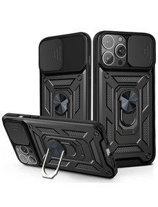 Ntech iPhone 13 Pro Max Hoesje met Camera Bescherming Zwart - Hoesje iPhone 13 Pro Max met ring houder Rugged Armor Back Cover - Case - Camera Schuif