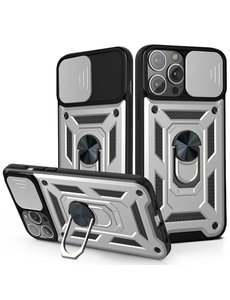 Ntech iPhone 13 Pro Max Hoesje met Camera Bescherming Zilver - Hoesje iPhone 13 Pro Max met ring houder Rugged Armor Back Cover - Case - Camera Schuif