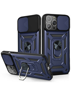 Ntech iPhone 13 Pro Max Hoesje met Camera Bescherming Blauw  - Hoesje iPhone 13 Pro Max met ring houder Rugged Armor Back Cover - Case - Camera Schuif