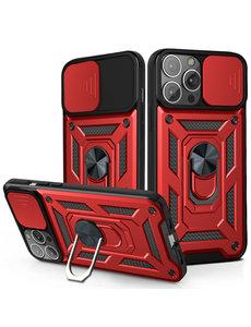 Ntech iPhone 13 Pro Max Hoesje met Camera Bescherming Rood - Hoesje iPhone 13 Pro Max met ring houder Rugged Armor Back Cover - Case - Camera Schuif
