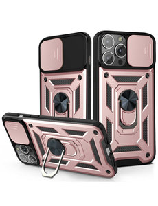 Ntech iPhone 13 Pro Max Hoesje met Camera Bescherming Rose Goud - Hoesje iPhone 13 Pro Max met ring houder Rugged Armor Back Cover - Case - Camera Schuif