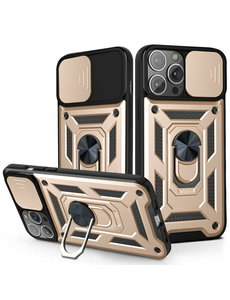 Ntech iPhone 13 Pro Max Hoesje met Camera Bescherming Goud - Hoesje iPhone 13 Pro Max met ring houder Rugged Armor Back Cover - Case - Camera Schuif