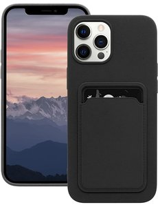 Ntech iPhone 12 hoesje - iPhone 12 Pro siliconen hoesje met pasjeshouder - Zwart