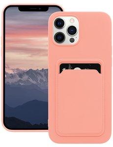 Ntech iPhone 12 hoesje - iPhone 12 Pro siliconen hoesje met pasjeshouder - Licht Rose