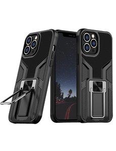 Ntech iPhone 13 hoesje - Schokbestendige Zwart -  hoesje iPhone 13 met ring houder - iPhone 13 hoesje magnetisch  Armor - iPhone 13 case Ultra Slim Soft TPU Cover met kicktand