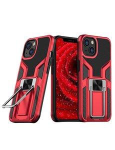Ntech iPhone 13 hoesje - Schokbestendige Rood -  hoesje iPhone 13 met ring houder - iPhone 13 hoesje magnetisch  Armor - iPhone 13 case Ultra Slim Soft TPU Cover met kicktand