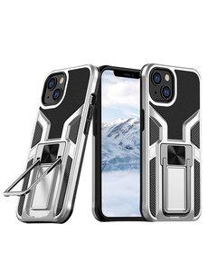 Ntech iPhone 13 hoesje - Schokbestendige Zilver -  hoesje iPhone 13 met ring houder - iPhone 13 hoesje magnetisch  Armor - iPhone 13 case Ultra Slim Soft TPU Cover met kicktand