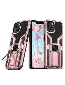 Ntech iPhone 13 hoesje - Schokbestendige Rose Goud -  hoesje iPhone 13 met ring houder - iPhone 13 hoesje magnetisch  Armor - iPhone 13 case Ultra Slim Soft TPU Cover met kicktand