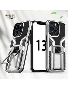 Ntech iPhone 13 Pro hoesje - Schokbestendige Zilver -  hoesje iPhone 13 Pro met ring houder - iPhone 13 Pro hoesje magnetisch  Armor - iPhone 13 Pro case Ultra Slim Soft TPU Cover met kicktand
