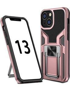 Ntech iPhone 13 Pro hoesje - Schokbestendige Rose Goud -  hoesje iPhone 13 Pro met ring houder - iPhone 13 Pro hoesje magnetisch  Armor - iPhone 13 Pro case Ultra Slim Soft TPU Cover met kicktand