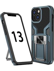 Ntech iPhone 13 Pro hoesje - Schokbestendige Cyan -  hoesje iPhone 13 Pro met ring houder - iPhone 13 Pro hoesje magnetisch  Armor - iPhone 13 Pro case Ultra Slim Soft TPU Cover met kicktand