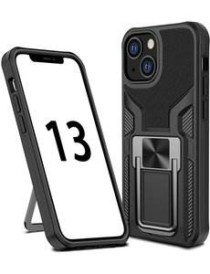 Ntech iPhone 13 Pro hoesje - Schokbestendige Zwart -  hoesje iPhone 13 Pro met ring houder - iPhone 13 Pro hoesje magnetisch  Armor - iPhone 13 Pro case Ultra Slim Soft TPU Cover met kicktand