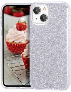 Ntech iPhone 13 Pro Hoesje Glitters Siliconen - Glitter iPhone 13 Pro hoesje  TPU Case Zilver - Cover