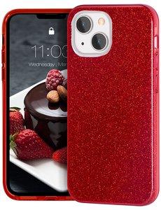 Ntech iPhone 13 Pro Hoesje Glitters Siliconen - Glitter iPhone 13 Pro hoesje  TPU Case Rood - Cover