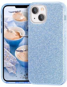 Ntech iPhone 13 Pro Hoesje Glitters Siliconen - Glitter iPhone 13 Pro hoesje  TPU Case Licht Blauw - Cover