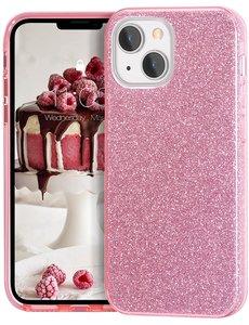 Ntech iPhone 13 Pro Hoesje Glitters Siliconen - Glitter iPhone 13 Pro hoesje  TPU Case Roze - Cover