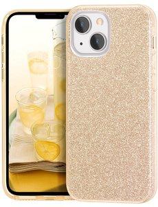 Ntech iPhone 13 Pro Hoesje Glitters Siliconen - Glitter iPhone 13 Pro hoesje  TPU Case Goud - Cover