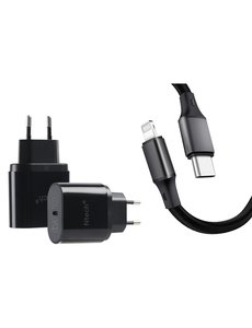 Ntech usb c oplader - usb c adapter - oplader usb c 25W -  usb c adapter apple met Lightning naar USB-C kabel Ntech (1 meter Zwart) Geschikt voor iPhone 12 / 11 / iPhone 11 Pro / 12 Pro / iPhone 12  / 11 Pro Max / iPhone 12 Mini - iPhone Lader / iPhone Oplader