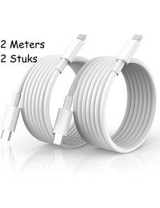 Ntech usb c naar lightning kabel - lightning naar usb c oplaadkabel - 2 meter geschikt voor Apple iPhone 13 / 13 Pro Max / iPhone 12 / 12 pro max  & iPad - oplader  kabel - lader - 2-PACK