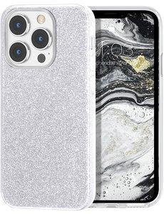 Ntech iPhone 13 Pro Max Hoesje Glitters Siliconen Zilver - Glitter iPhone 13 Pro Max hoesje  TPU Case - Cover