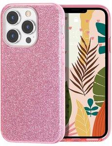 Ntech iPhone 13 Pro Max Hoesje Glitters Siliconen Roze - Glitter iPhone 13 Pro Max hoesje  TPU Case - Cover