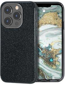 Ntech iPhone 13 Pro Hoesje Glitters Siliconen - Glitter iPhone 13 Pro hoesje  TPU Case Zwart - Cover