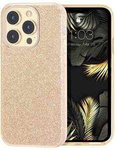 Ntech iPhone 13 Mini Hoesje Glitters Siliconen Goud - Glitter iPhone 13 Mini hoesje  TPU Case - Cover