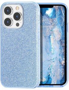 Ntech iPhone 13 Mini Hoesje Glitters Siliconen Licht Blauw - Glitter iPhone 13 Mini hoesje  TPU Case - Cover