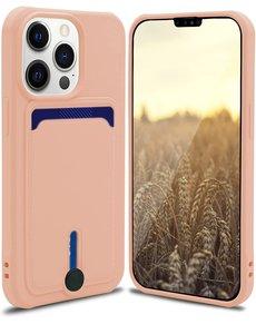 Ntech iPhone 13 hoesje Met pasje houder Licht Rose - iPhone 13 siliconen hoesje met pasjeshouder iPhone 13