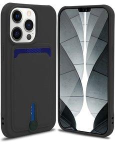 Ntech iPhone 13 hoesje Met pasje houder Zwart - iPhone 13 siliconen hoesje met pasjeshouder iPhone 13