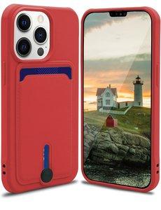 Ntech iPhone 13 Pro Max hoesje Met pasje houder Rood - iPhone 13 Pro Max siliconen hoesje met pasjeshouder iPhone 13 Pro Max