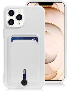 Ntech iPhone 13 Pro Max hoesje Met pasje houder Wit - iPhone 13 Pro Max siliconen hoesje met pasjeshouder iPhone 13 Pro Max