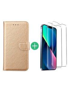 Ntech iPhone 13 hoesje bookcase Goud - iPhone 13 bookcase hoesje - Pasjeshouder hoesje voor iPhone 13 - iPhone 13 Screenprotector 2pack