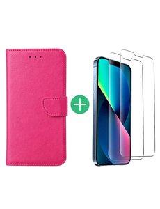 Ntech iPhone 13 Mini hoesje bookcase Pink - iPhone 13 Mini  bookcase hoesje - Pasjeshouder hoesje voor iPhone 13 Mini - iPhone 13 Mini Screenprotector 2pack