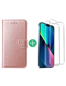 Ntech iPhone 13 Mini hoesje bookcase Rose Goud - iPhone 13 Mini  bookcase hoesje - Pasjeshouder hoesje voor iPhone 13 Mini - iPhone 13 Mini Screenprotector 2pack
