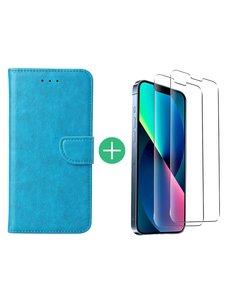 Ntech iPhone 13 Mini hoesje bookcase Blauw - iPhone 13 Mini  bookcase hoesje - Pasjeshouder hoesje voor iPhone 13 Mini - iPhone 13 Mini Screenprotector 2pack
